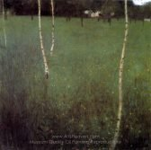 Gustav Klimt Farmhouse with Birch Trees