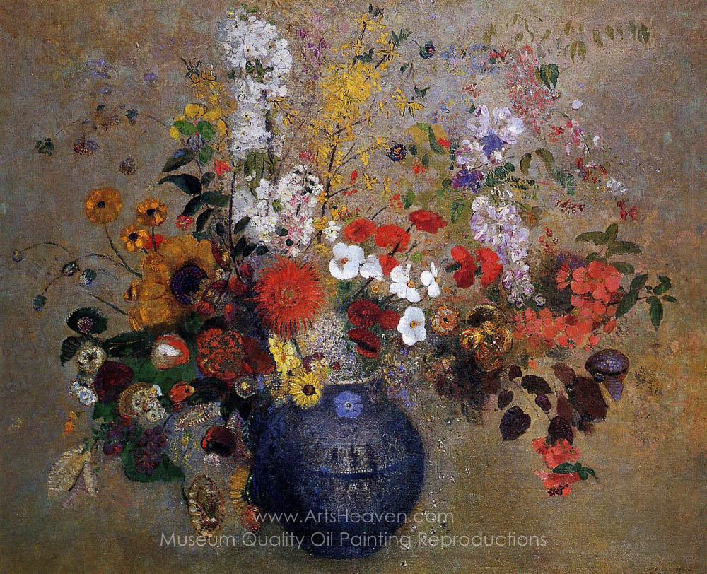 Oil Painting Reproductions & Flowers in a Blue Vase