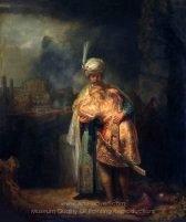 David and Jonathan embracing, Rembrandt