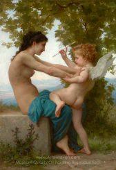William A. Bouguereau A Girl Defending Herself against Eros