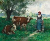 Julien Dupre A Milkmaid with Her Cows at Pasture