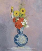 odilon-redon-BOUQUET OF FLOWERS IN A BLUE VASE
